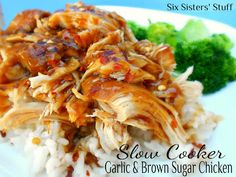 Slow Cooker Garlic and Brown Sugar Chicken- so easy to throw together! This is one of my kids' favorites. SixSistersStuff.com #slowcooker #chicken