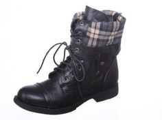 New! Black Military Combat Boot Fold-over Cuff + Zipper on the Back Multiple Color (8.5, black) GI. $31.05