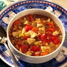 Chicken Soup with Lentils and Barley