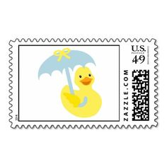 Rubber Ducky baby shower stamp with blue umbrella