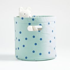 Sale ends soon. Shop Blue and White Round Storage Bin. Our Round Storage Bins are a modern organization must-have for families. The soft-sided design makes it safe for all ages, so it can be used in nurseries, kids rooms and playrooms. Kids Storage, Storage Bins, Unique Furniture, Custom Furniture, Furniture Ideas, Crate And Barrel, Clutter Organization, Light Blue Background, Yellow Stripes