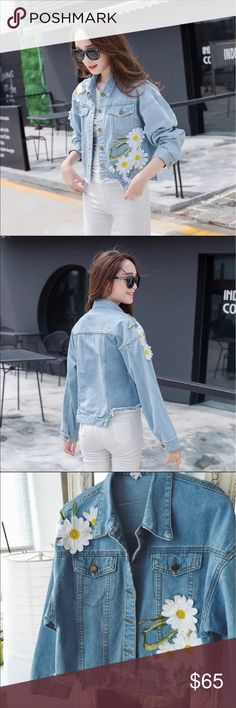 💦New Arrival💦Embroidered Vintage Denim Jacket Embroidered floral Denim vintage Jacket. Casual Long loose Sleeves.  Oversized.  100% Cotton. Cold wash. Jackets & Coats Jean Jackets