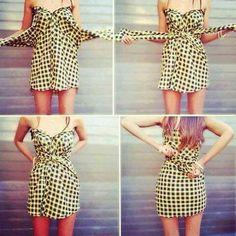 DIY Mens Shirt to Cute Dress in Seconds Diy Dress 6fc283603
