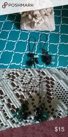 Turquoise and onyx earrings Hoop turquoise earrings Jewelry Earrings