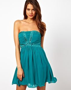 Image 1 ofLittle Mistress Bandeau Evening Dress With Embellished Bodice