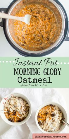 Crank up your morning oatmeal a few notches by making it Morning Glory style! Naturally sweetened, full of real food ingredients that will fuel you on and even a dose of veggie goodness when you start your day with this recipe! Made with ease in your Inst Crock Pot Recipes, Breakfast Crockpot Recipes, Baby Food Recipes, Paleo Breakfast, Muffin Recipes, Diet Recipes, Healthy Recipes, Gluten Free Oatmeal, Pots