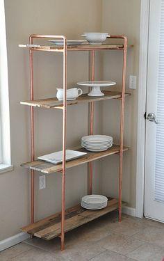 étagère en bois récupéré avec châssis en cuivre, étagères de cuisine, étagère