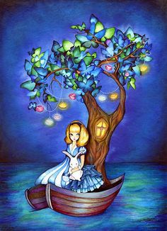 Alice Under the Dreaming Tree  Dark Fairytale Painting by annya127, $18.00
