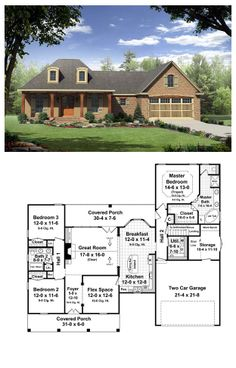 House Plan 59165 | Total living area: 1863 sq ft, 3 bedrooms & 2 bathrooms. This inviting home has country styling with upscale features. The front and rear covered porches add usable outdoor living space. #frenchcountry #houseplan