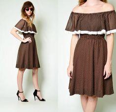 Vintage 70s Brown POLKA DOT print LACE dolly CAPE full MIDI boho Hippie Dress S