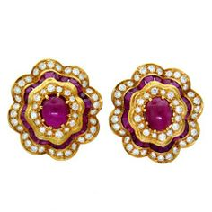 Impressive Gold Ruby  Earrings