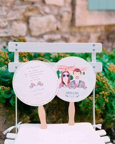 Wedding Program on a fan for a hot day