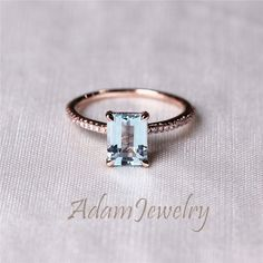 Solid 14K Rose Gold Emerald Cut Natural Aquamarine by AdamJewelry