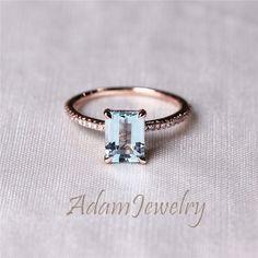 Solid 14K Rose Gold Emerald Cut Natural Aquamarine by AdamJewelry