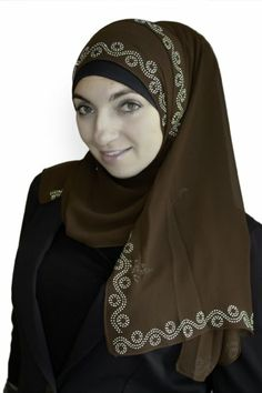 Sparkle Hijab Swirl Sequence (Brown). These lightweight hijabs are just beautiful. They have a simple but very pretty swirl of sequence that runs all the way around the lovely fabric. 100% Polyester. More at http://suliaszone.com/sparkle-hijab-swirl-sequence-brown/
