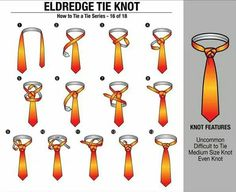 'How to Tie a Tie' Part - Eldredge Tie Knot Other in the series : Four in Hand Knot // Half Windsor Knot // Full Windsor Knot // Nicky Knot // Bow Tie // Kelvin Knot // Oriental Knot // Pratt Knot // St. Cool Tie Knots, Cool Ties, Tie The Knots, Tying Knots, Tying Ties, Nudo Windsor, Windsor Knot, Half Windsor, Life Hacks