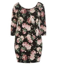 Inspire Black Rose Print 3/4 Sleeve Bodycon Dress
