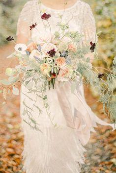 Bouquet Flowers Bride Bridal Peach Blush Rose Thistle Ribbon Beautiful Fine Art Country House Wedding Ideas https://www.theblushingpeony.co.uk/