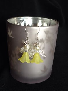 Yellow angel Christmas earrings