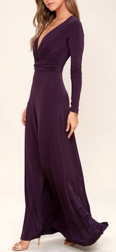 Dress Bridesmaid Plum Purple 16 Ideas For 2019 Best Maxi Dresses, Trendy Dresses, Nice Dresses, Champagne Homecoming Dresses, Plum Bridesmaid Dresses, Bridesmaid Ideas, Burgundy Gown, Maxi Dress With Sleeves, Plum Purple