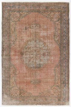 7.5x11 Ft Vintage Turkish Oushak Area Rug. Soft rose pink color. Decorative old handmade carpet. Distressed look with low wool pile. Y238