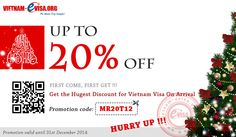 We want to share with you a special gift for you against this bitter winter - SAVE UP TO 20%. This is our way of saying thank you! Please apply promotion code: MR20T12 at vietnam-evisa.org/apply-visa