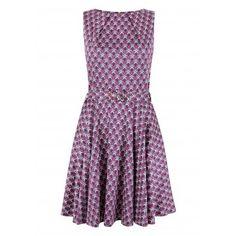 Closet Bloomsbury Purple Damask Flared Belted Dress - Bloomsbury - Classics