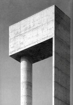 Water Tank at Aveiro University, Álvaro Siza, , 1991, in Aveiro, Portugal.