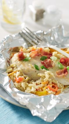 We took our favorite casserole and turned it into a light and easy foil pack dinner, filled with classic flavors and fresh vegetables. To make in oven, place packs on cookie sheet. Bake at 375°F 32 to 35 minutes or until juice of chicken is clear when center of thickest part is cut (at least 165°F).