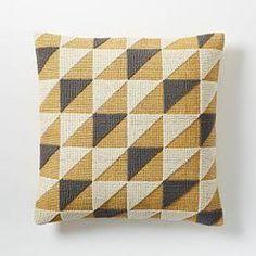 Triangle Geo Cushion Cover - Horseradish - West elm