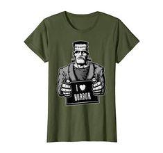 I Love Horror Frankenstein Monster T-Shirt Cool Tees, Cool T Shirts, Branded T Shirts, Printed Shirts, Amazon Clothes, Mary Shelley, Frankenstein's Monster, Best Tank Tops, Vintage Horror
