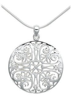 """USD $36.00 Sterling Silver Filigree Circle Pendant, 18"""" #silver #necklace #anniversary #gift http://design21.greatwebmalls.com/index.php?page=1141460"""
