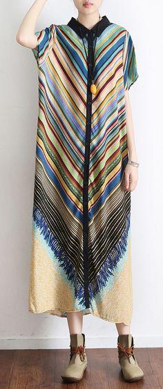 91863f4c1dd7 Vintage green striped summer batwing sleeve long dress