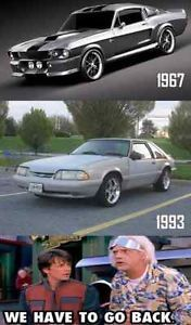 The Mustang - 1960 vs 1990. Pretty much. source: carhoots. Back to the Future