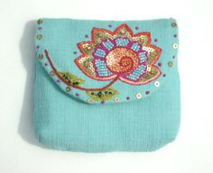 Floral Turquoise Purse Small Bag // Hand Embroidered Linen Purse // Summer Purse // Indian inspired, via Etsy.
