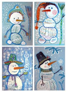 Snowman art project for kids Group Art Projects, Classroom Art Projects, Winter Art Projects, School Art Projects, Craft Projects For Kids, Art Classroom, Christmas Art For Kids, Christmas Activities For Kids, Art Drawings For Kids