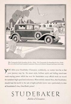 1929 Ad Antique Enclosed V8 Studebaker Commander Eight Brougham Automobile NGM3