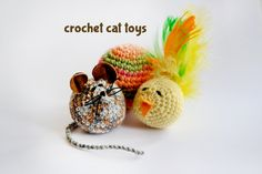 DIY crochet cat toys - also includes instructions on how to make a rattle for the inside of the toys.