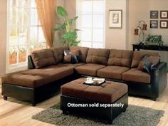 Harlow L Sectional in Chocolate Microfiber and Dark Brown Faux Leather by Coaster - 500655L --- http://udal.us/14r