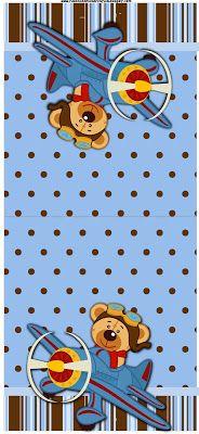 Ursinho Aviador - Kit Completo com molduras para convites, rótulos para guloseimas, lembrancinhas e imagens!