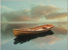 painting of boat on still water...good colors