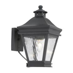 Landings Outdoor Wall Lantern In Charcoal And Water Glass 5720-C