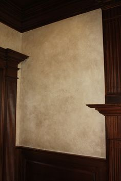 """Old World Textured Plaster Finish - Using a weathered plaster and a pigment """"wash"""", this finish was perfect for the warm, elegant library in this new construction home."""
