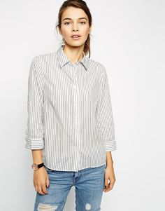 ASOS+3/4+Sleeve+Shirt+In+Navy+and+White+Stripe