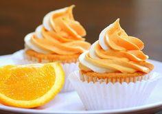Orange Cupcakes, Yummy Cupcakes, Fruity Cupcakes, Orange Frosting, Lemon Cupcakes, Vanilla Cupcakes, Cupcake Recipes, Dessert Recipes, Cupcakes Lindos