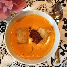 Tomato Bisque with Bacon + Crutons - Eat Drink Eat
