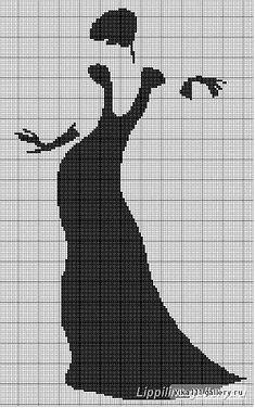 0 point de croix  silhouette femme robe noire - cross stitch black silhouette of woman