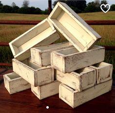 Distressed wedding centerpiece planter boxes
