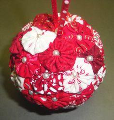 Folded Fabric Tree Ornaments  YoYo's