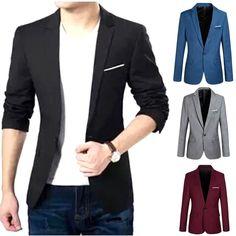 f9d91ea969 Men s Casual Slim Fit Formal One Button Suit Blazer Coat Jacket Tops Plus  Size
